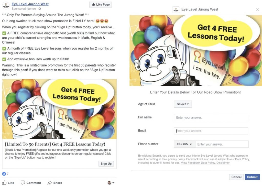 Facebook Lead Ad Form Example 2