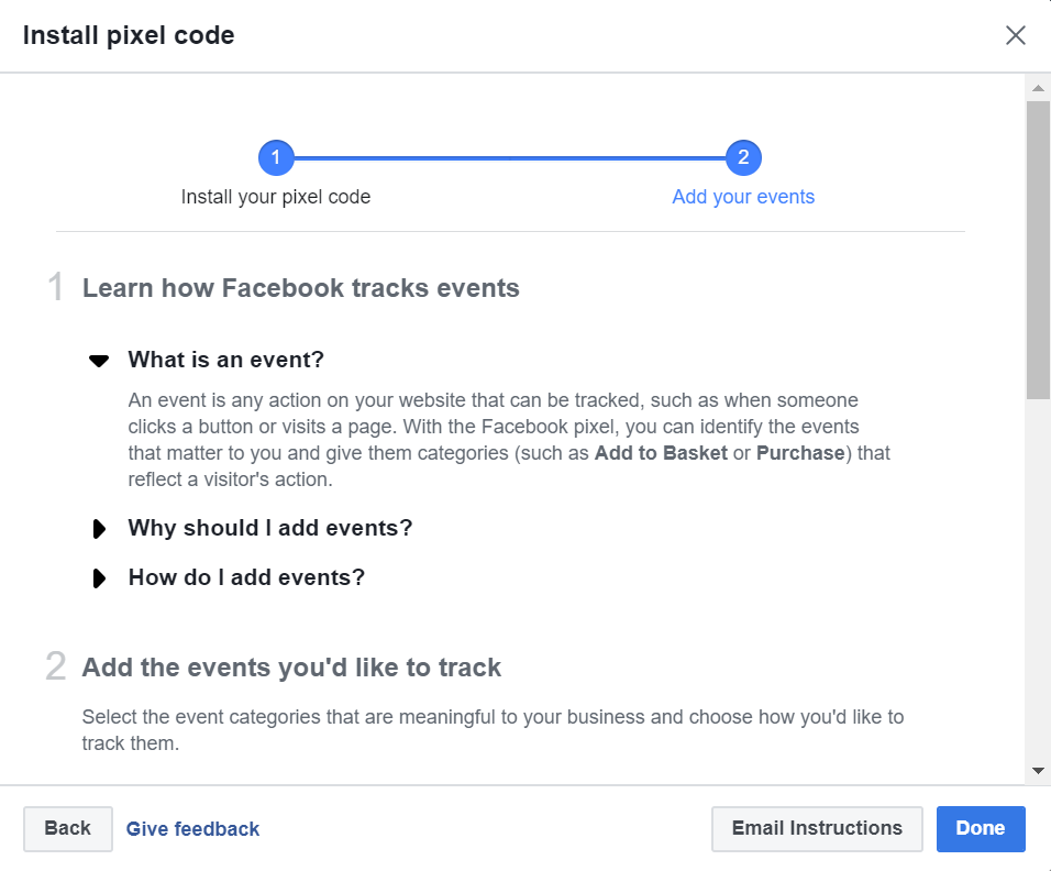 Add Events To Facebook Pixel Code