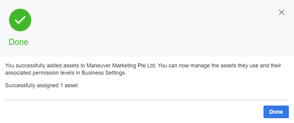 Added Assets To Facebook Partner Successfully