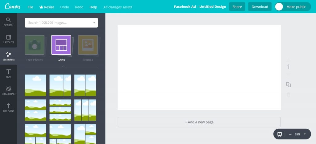 Canva Workspace Grids