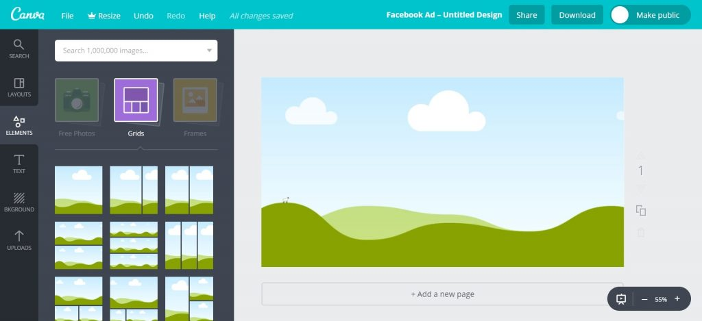 Canva Workspace Single Image Grid