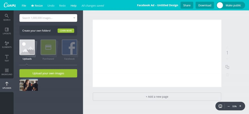 Canva Workspace Uploaded Image