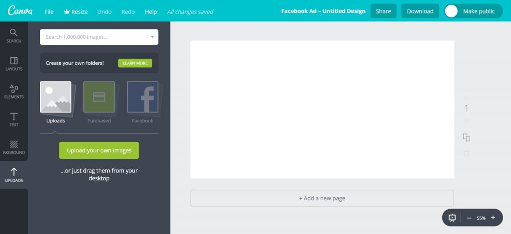 Canva Workspace Uploading Image