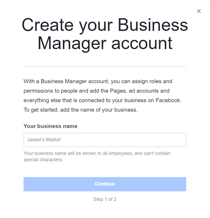 Create Facebook Business Manager Account Box 1