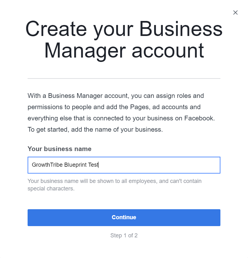Create Facebook Business Manager Account Box 2