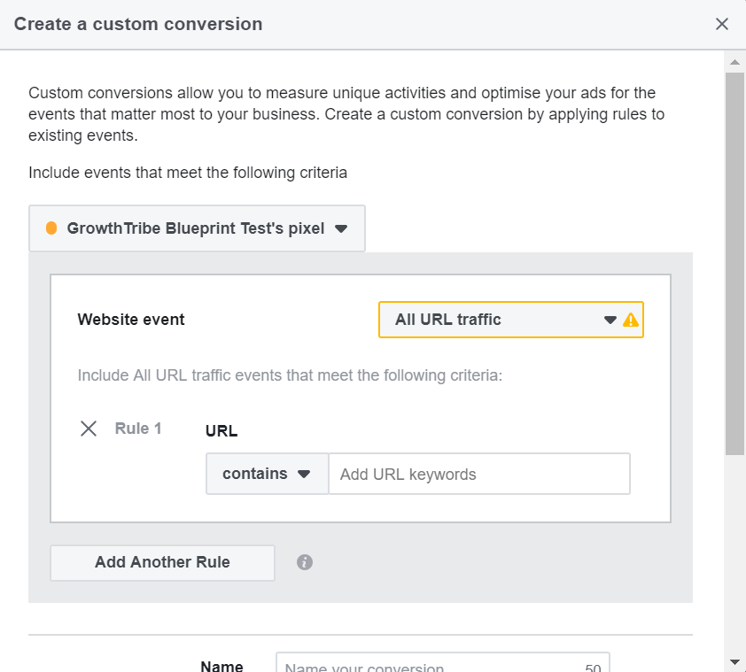 Create Facebook Custom Conversion