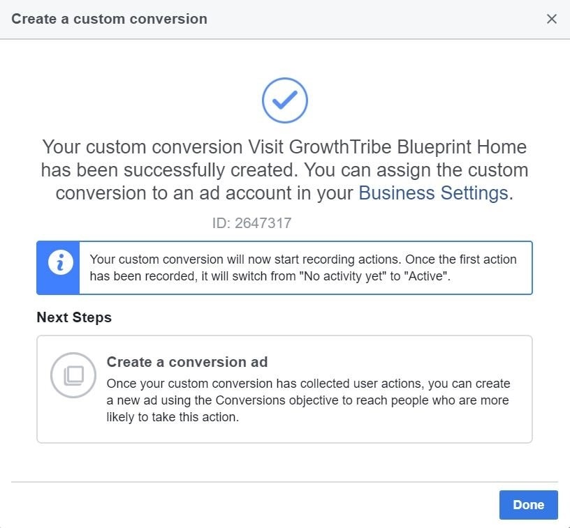 Created Facebook Custom Conversion