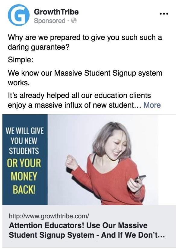 Facebook Ad Attribute Example
