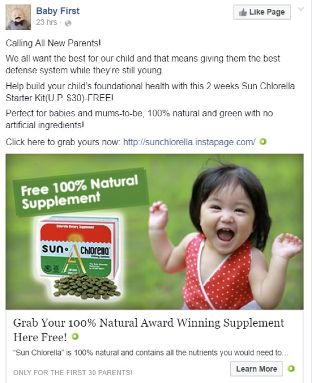Facebook Ad Image Relevant Example