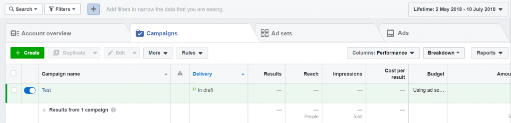 Facebook Ads Manager Example 1