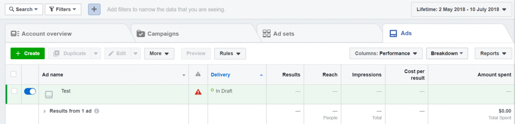 Facebook Ads Manager Example 2