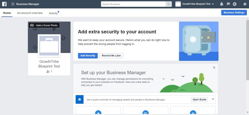 Facebook Business Manager Homepage 1