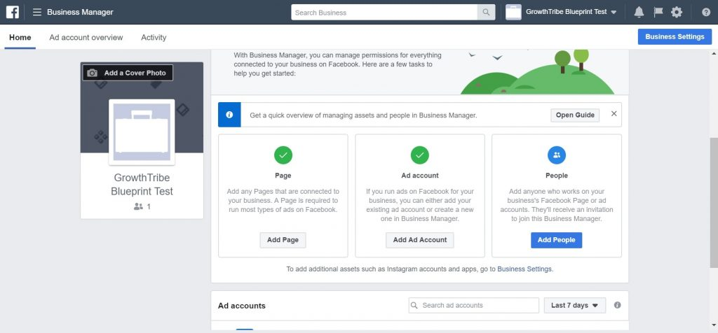 Facebook Business Manager Homepage 3
