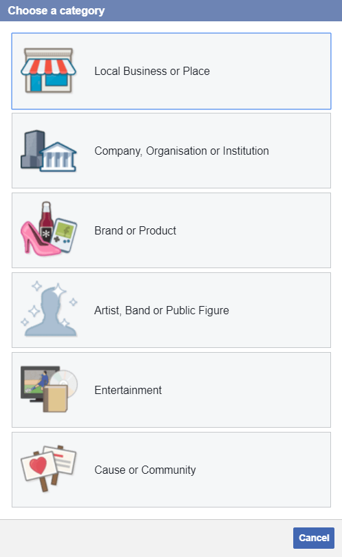Facebook Choose Category