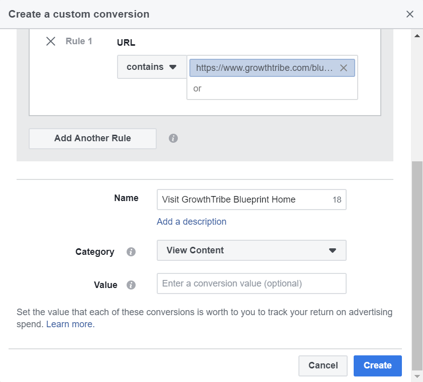 Facebook Custom Conversion Details