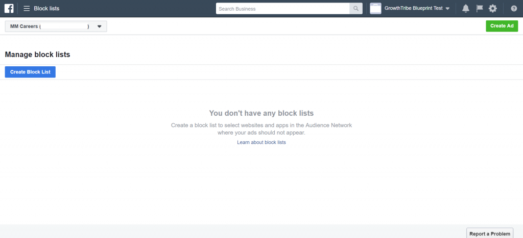Facebook Manage Block Lists