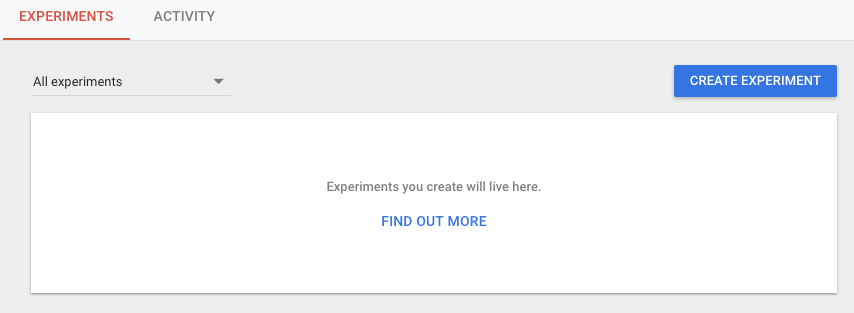 Google Optimize Create Experiment