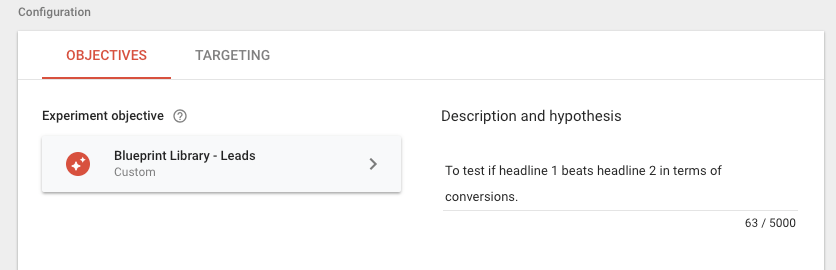 Google Optimize Objective Description