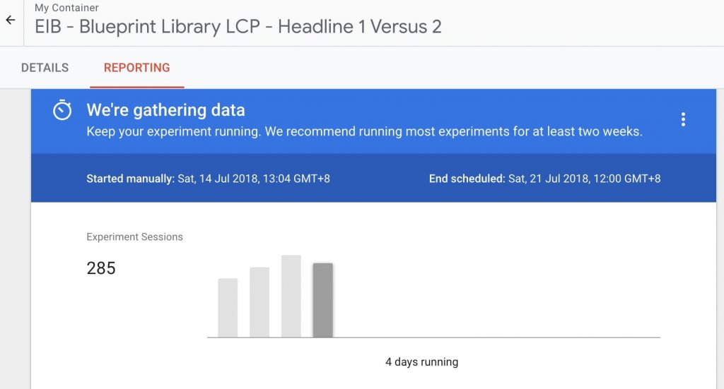 Google Optimize Reporting