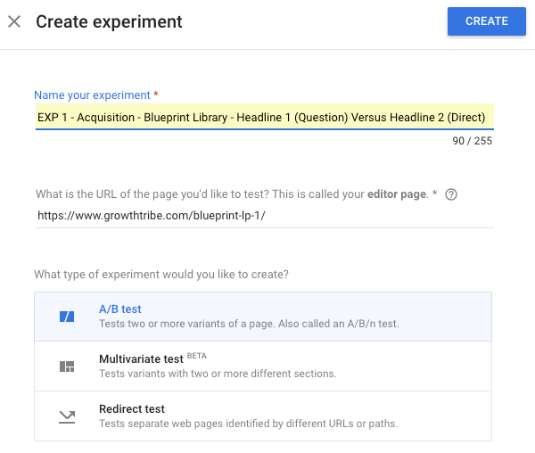 Google Optimize Test Types