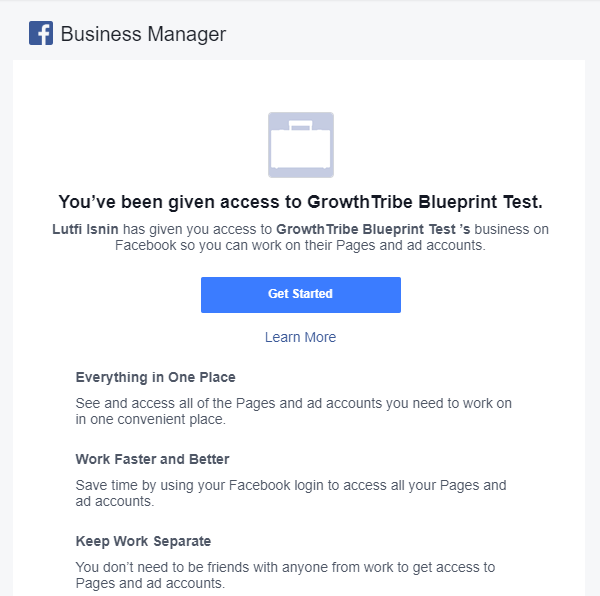 Invitation Received To Add To Facebook Manager