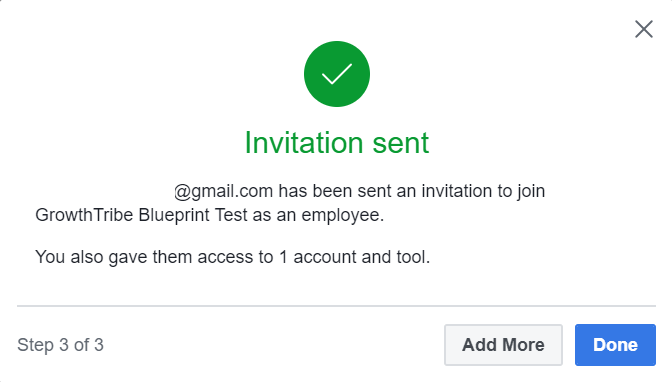 Invitation Sent To Add To Facebook Manager