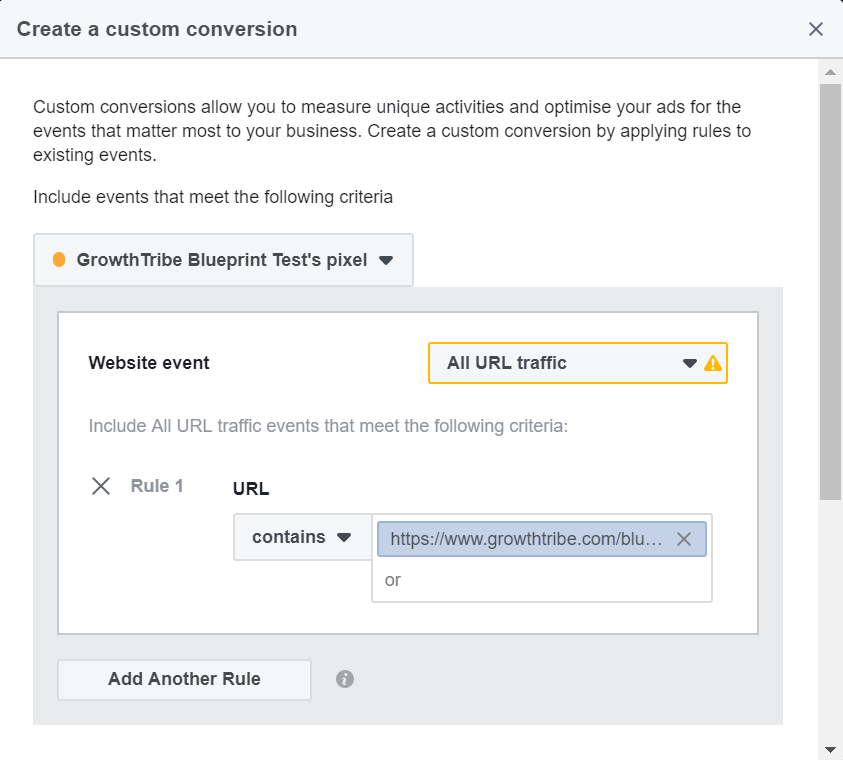Page URL For Facebook Custom Conversion