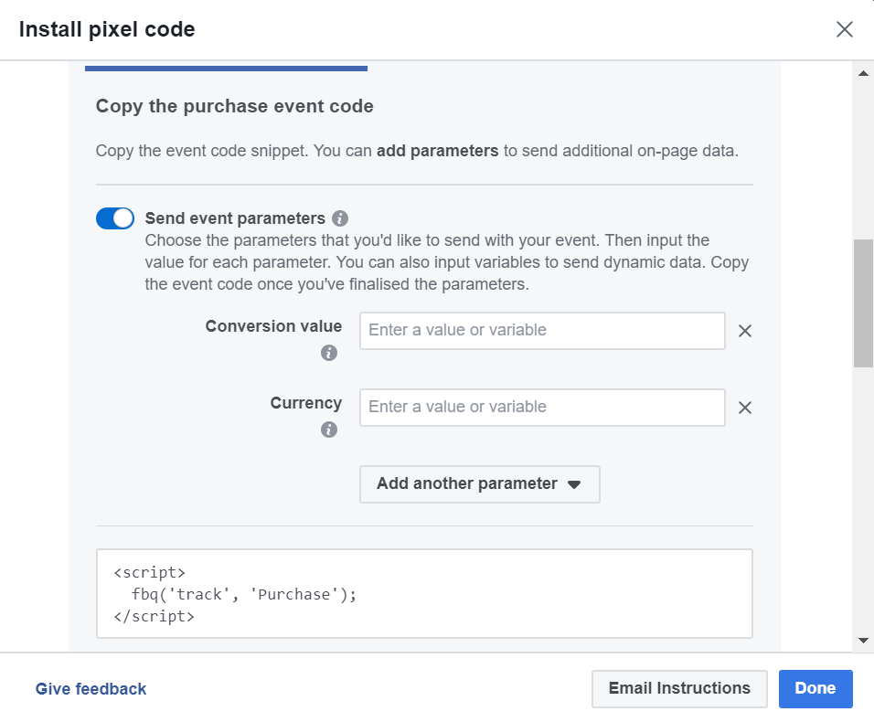 Purchase Facebook Standard Event Parameters