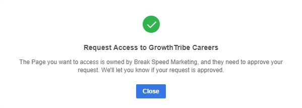 Request Access To Facebook Page Successfully