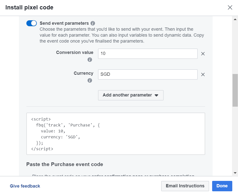 Set Facebook Standard Event Parameters