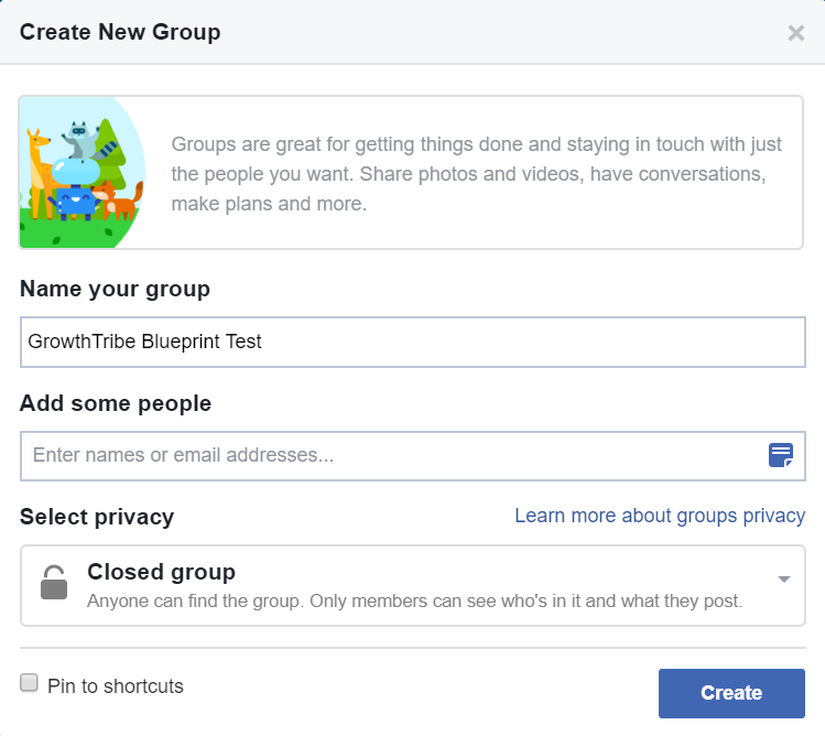 Create New Facebook Group