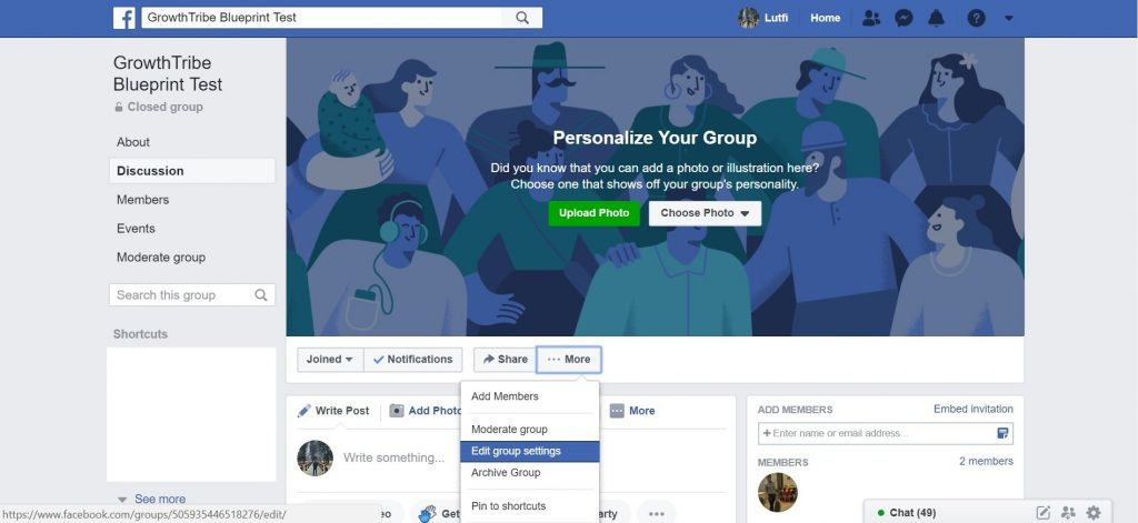 Facebook Group Edit Group Settings