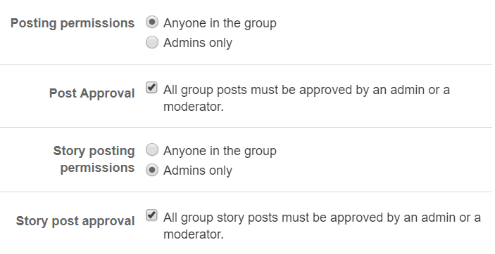 Facebook Group Posting Setting