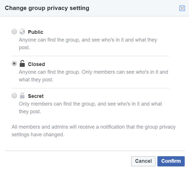 Facebook Group Privacy Setting