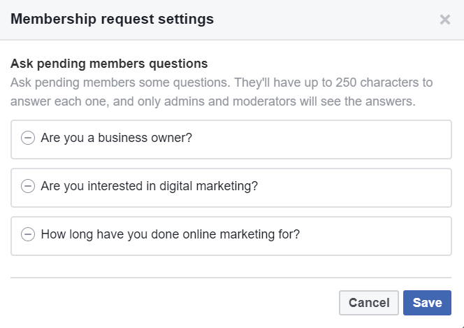 Facebook Group Questions Examples