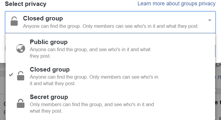 Facebook Group Select Privacy