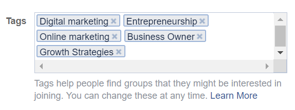 Facebook Group Tags Example