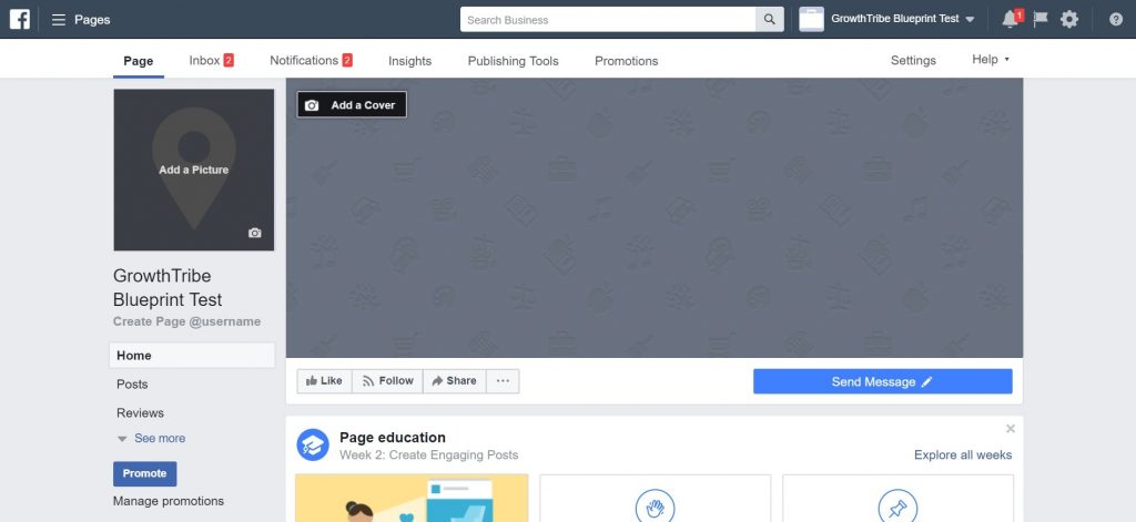 Facebook Page Homepage