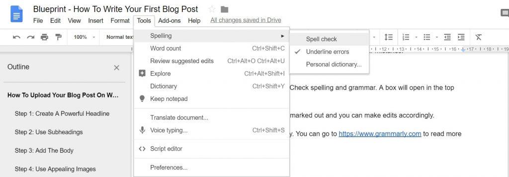 Google Docs Spelling Tool