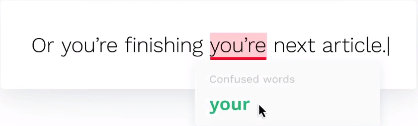 Grammarly Correction Example