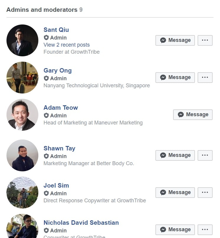 GrowthTribe Facebook Admins