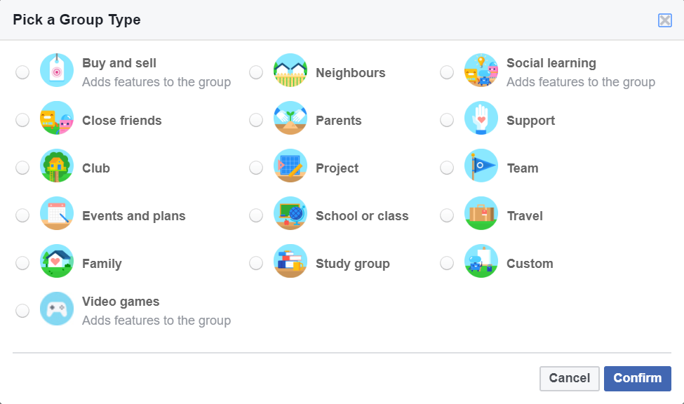 Select Group Type Facebook
