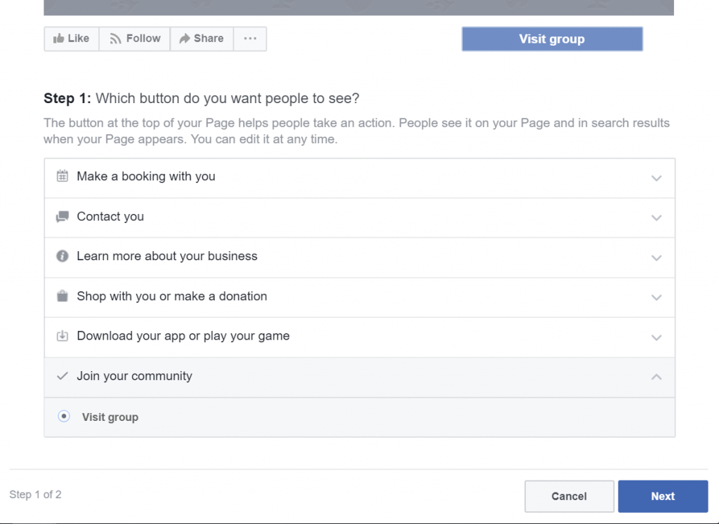 Select Visit Facebook Group Button