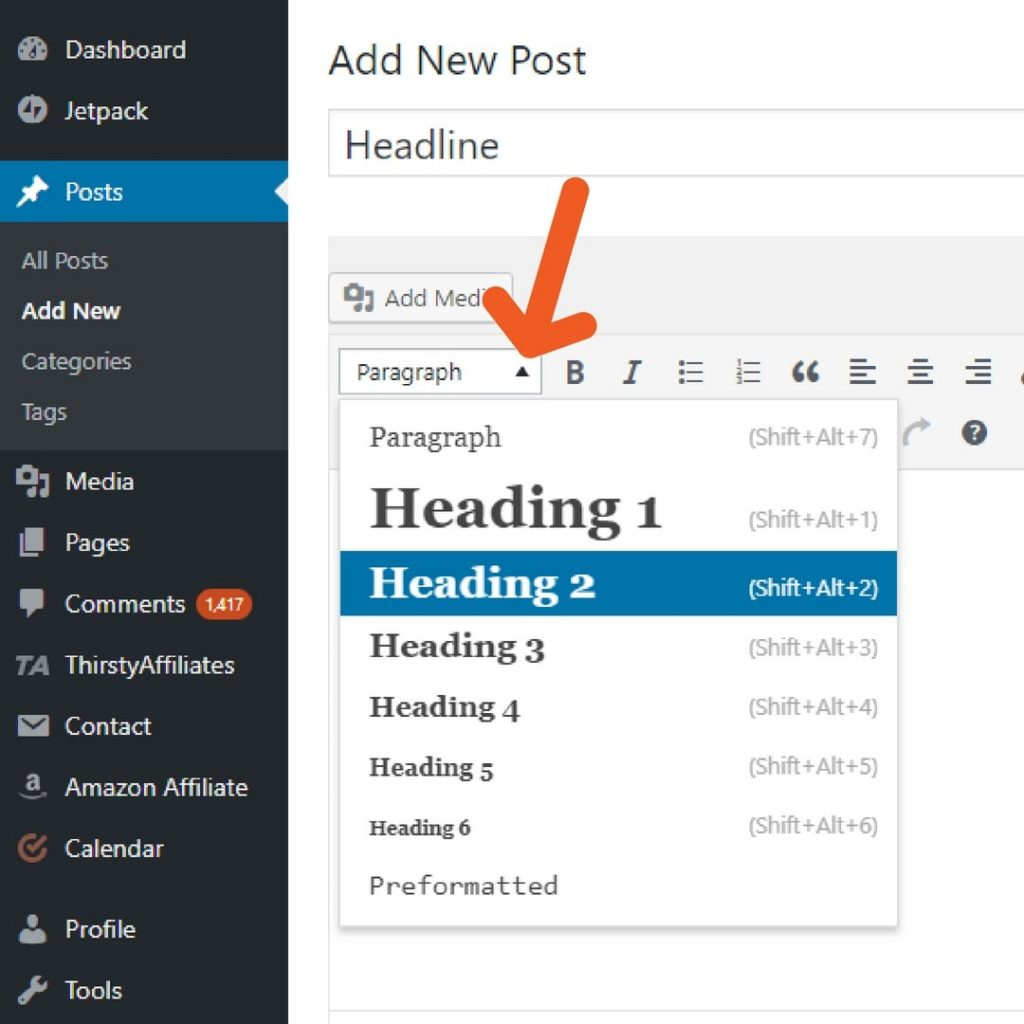 WordPress Heading Formatting