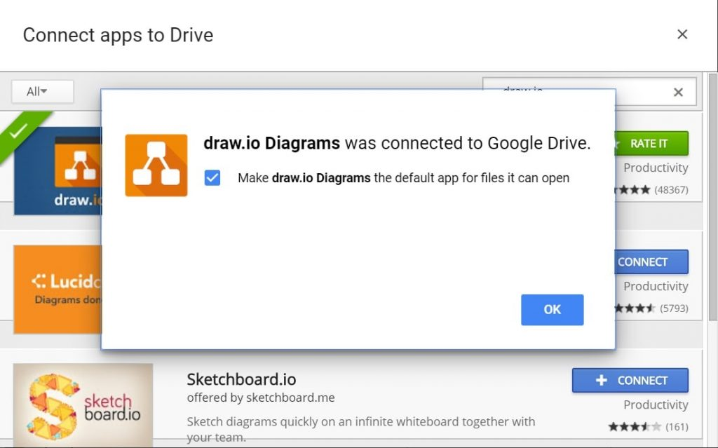 draw.io Connected To Google Drive